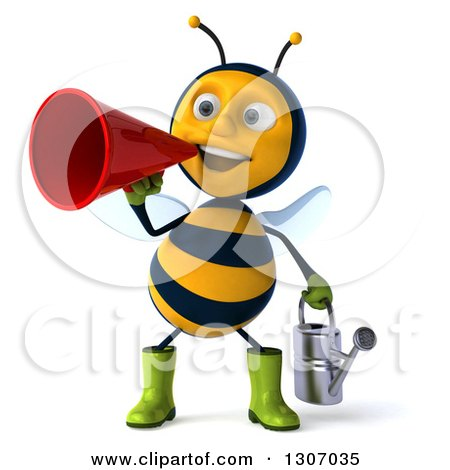 Clipart of a 3d Happy Gardener Bee Holding a Watering Can and Announcing with a Megaphone - Royalty Free Illustration by Julos