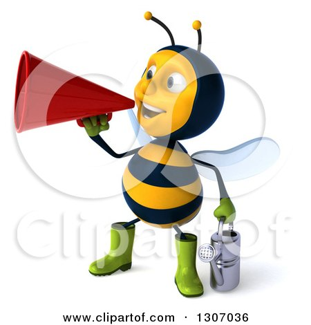 Clipart of a 3d Happy Gardener Bee Facing Slightly Left, Holding a Watering Can and Announcing with a Megaphone - Royalty Free Illustration by Julos