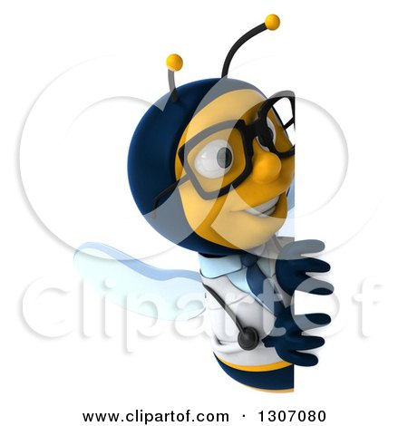 Clipart of a 3d Happy Bespectacled Bee Doctor Looking Around a Sign - Royalty Free Illustration by Julos
