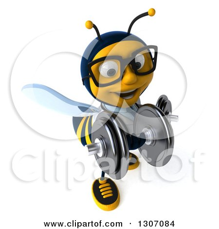 Clipart of a 3d Happy Bespectacled Bee Doctor Working Out, Doing Bicep Curls with Dumbbells - Royalty Free Illustration by Julos