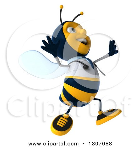 Clipart of a 3d Happy Bee Doctor Facing Right and Jumping - Royalty Free Illustration by Julos