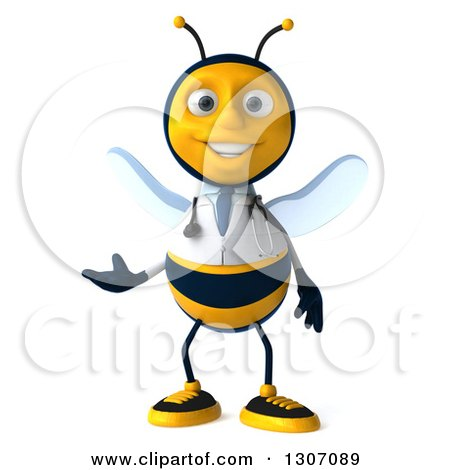 Clipart of a 3d Happy Bee Doctor Presenting - Royalty Free Illustration by Julos
