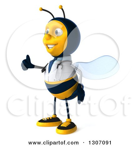 Clipart of a 3d Happy Bee Doctor Facing Left and Giving a Thumb up - Royalty Free Illustration by Julos