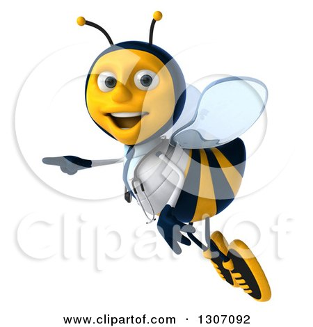 Clipart of a 3d Happy Bee Doctor Flying and Pointing to the Left - Royalty Free Illustration by Julos