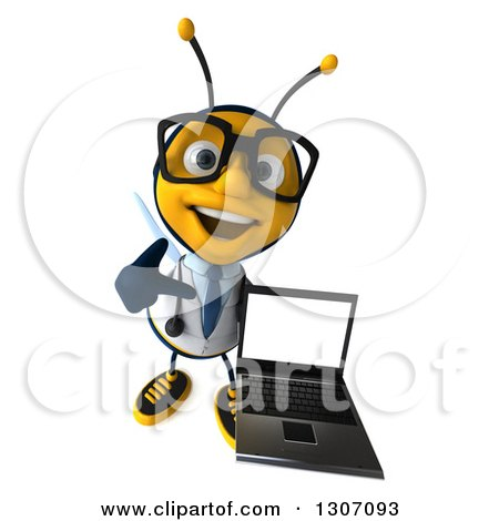 Clipart of a 3d Happy Bespectacled Bee Doctor Holding up and Pointing to a Laptop with a Blank Screen - Royalty Free Illustration by Julos