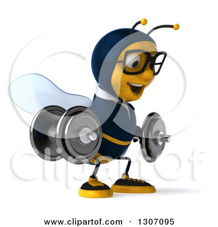 Clipart of a 3d Happy Bespectacled Business Bee Facing Right, Working out and Doing Dumbbell Squats with Dumbbells - Royalty Free Illustration by Julos