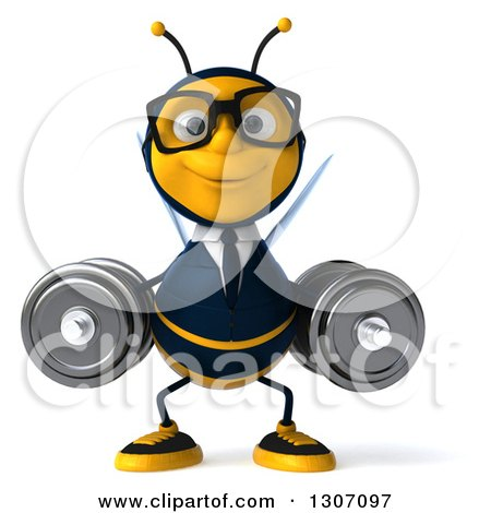 Clipart of a 3d Happy Bespectacled Business Bee Working out and Doing Dumbbell Squats with Dumbbells - Royalty Free Illustration by Julos
