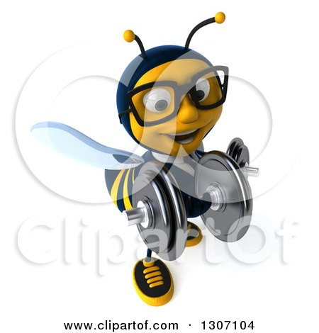 Clipart of a 3d Happy Bespectacled Business Bee Working out and Doing Bicep Curls with Dumbbells - Royalty Free Illustration by Julos