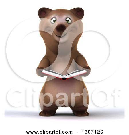 Clipart of a 3d Happy Brown Bear Reading a Book - Royalty Free Illustration by Julos