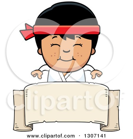 Clipart Of A Cartoon Happy Asian Karate Boy Smiling Over A Blank Banner Sign Royalty Free Vector Illustration