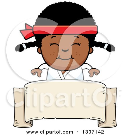 Clipart of a Cartoon Happy Black Karate Girl Smiling over a Blank Banner Sign - Royalty Free Vector Illustration by Cory Thoman