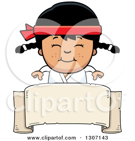 Clipart of a Cartoon Happy Asian Karate Girl Smiling over a Blank Banner Sign - Royalty Free Vector Illustration by Cory Thoman