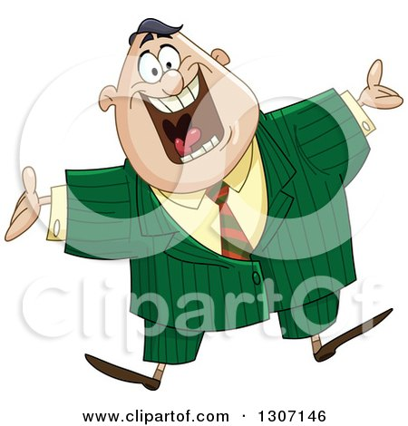 Clipart of a Welcoming Excited Chubby Businessman Jumping - Royalty Free Vector Illustration by yayayoyo