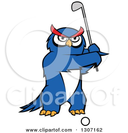 Clipart of a Cartoon Blue Owl Golfer Swinging a Club - Royalty Free Vector Illustration by Vector Tradition SM