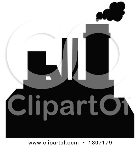 Clipart of a Black Silhouetted Refinery Factory 11 - Royalty Free Vector Illustration by Vector Tradition SM