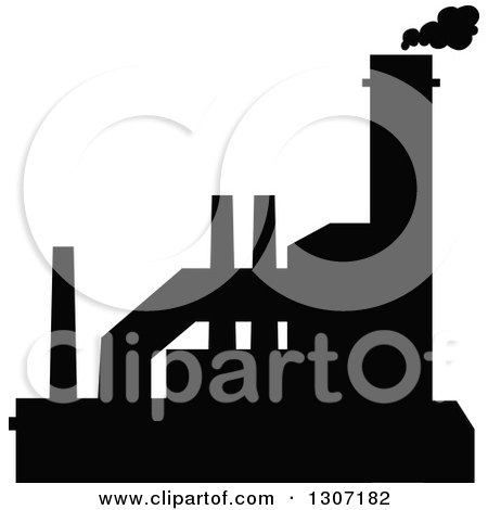 Clipart of a Black Silhouetted Refinery Factory 15 - Royalty Free Vector Illustration by Vector Tradition SM