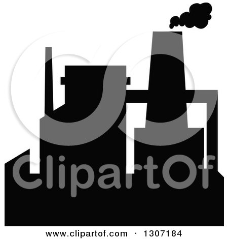 Clipart of a Black Silhouetted Refinery Factory 12 - Royalty Free Vector Illustration by Vector Tradition SM