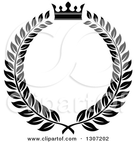 Clipart of a Black and White Laurel Wreath with a Luxury ...