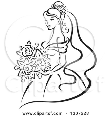 Clipart of a Sketched Black and White Bride Holding a Bouquet 7 - Royalty Free Vector Illustration by Vector Tradition SM