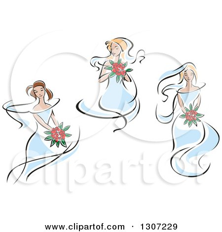Clipart of Sketched Caucasian Brides in Blue Dresses, Holding Bouquets of Red Flowers - Royalty Free Vector Illustration by Vector Tradition SM