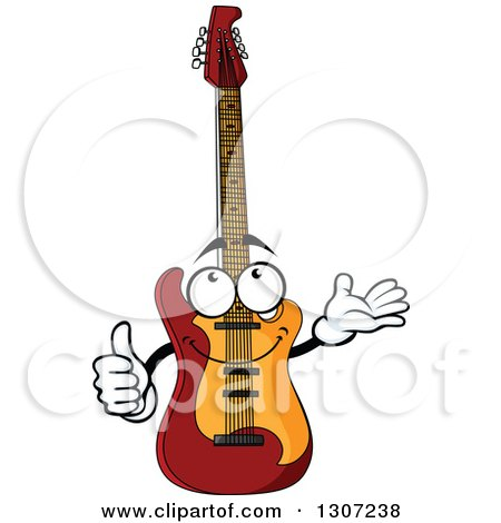 Clipart of a Cartoon Electric Guitar Character Giving a Thumb up - Royalty Free Vector Illustration by Vector Tradition SM