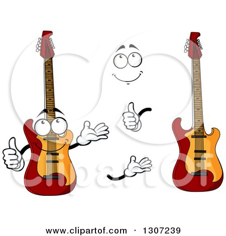 Clipart of a Cartoon Face, Hands and Electric Guitars - Royalty Free Vector Illustration by Vector Tradition SM
