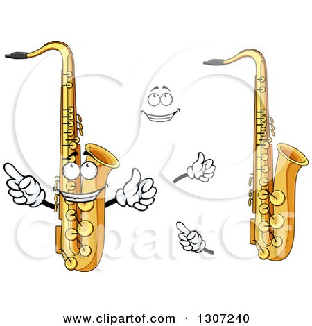 Clipart of a Cartoon Face, Hands and Saxophones - Royalty Free Vector Illustration by Vector Tradition SM