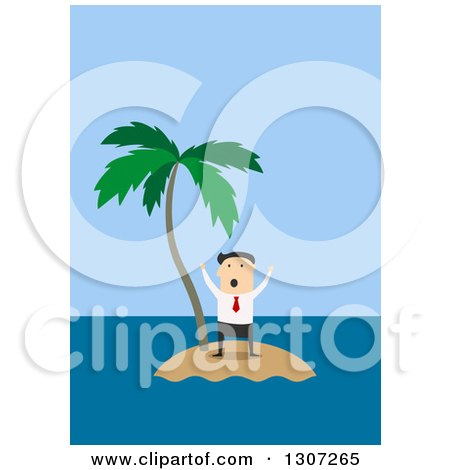 Clipart of a Flat Design White Businessman Trapped on an Island - Royalty Free Vector Illustration by Vector Tradition SM
