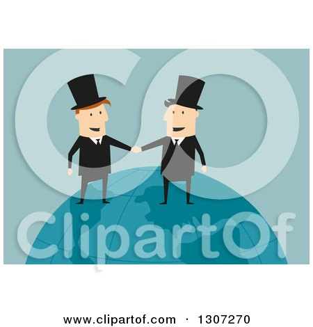 Clipart of a Flat Design White Businessman and Industrialist Shaking Hands on a Globe, over Green - Royalty Free Vector Illustration by Vector Tradition SM