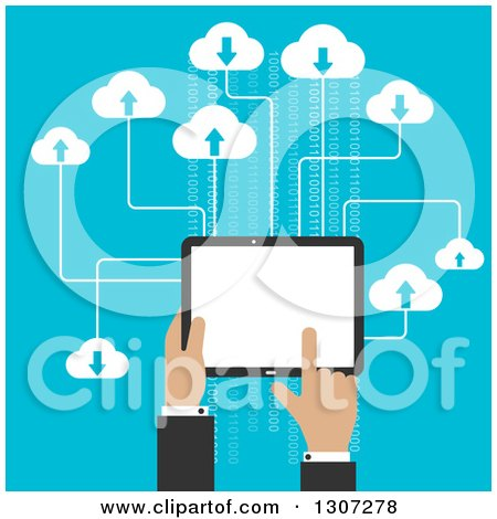 Clipart of a Flat Design of a Businessman's Hands Using a Tablet Computer and Cloud Storage over Blue - Royalty Free Vector Illustration by Vector Tradition SM