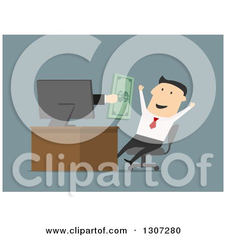 Clipart of a Flat Design of a Hand Giving Cash to a Businessman Through a Computer Screen, over Blue - Royalty Free Vector Illustration by Vector Tradition SM