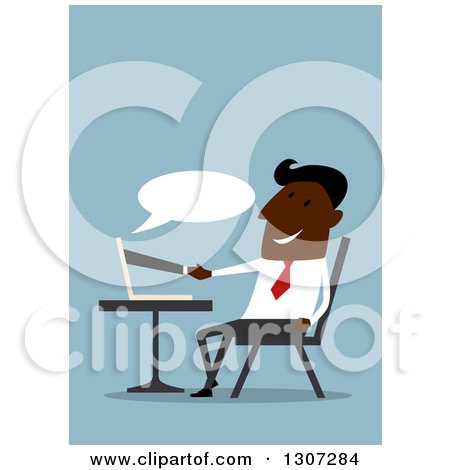 Flat Design Black Businessman Shaking Hands Through a Computer, on Blue Posters, Art Prints