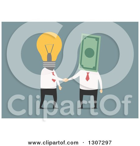 Clipart of a Flat Design of Business Men with Lightbulb and Money Heads Shaking Hands on Blue - Royalty Free Vector Illustration by Vector Tradition SM