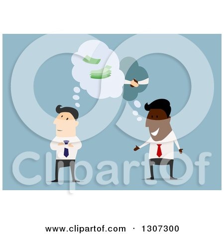 Clipart of a Flat Design White and Black Business Men Considering a Partnership on Blue - Royalty Free Vector Illustration by Vector Tradition SM