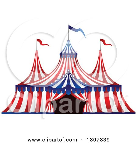 Clipart of a Red White and Blue Big Top Circus Tent - Royalty Free Vector Illustration by Vector Tradition SM