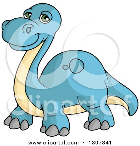 Clipart of a Cartoon Blue and Beige Apatosaurus Dinosaur - Royalty Free Vector Illustration by Vector Tradition SM