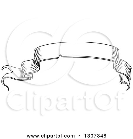 Clipart of a Black and White Sketched Vintage Styled Blank Ribbon Banner - Royalty Free Vector Illustration by Vector Tradition SM