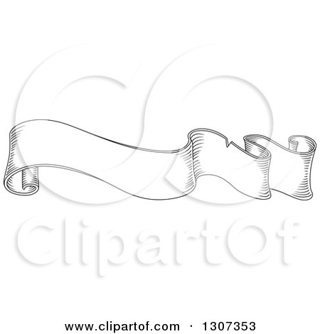 Clipart of a Black and White Sketched Vintage Styled Blank Ribbon Banner 14 - Royalty Free Vector Illustration by Vector Tradition SM