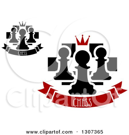 Clipart of Chess Boards with Crowns and Pawns over Banners with Text - Royalty Free Vector Illustration by Vector Tradition SM