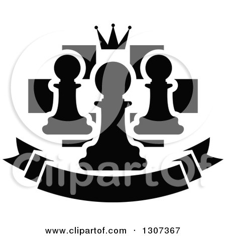 Clipart of a Back and White Chess Board with a Crown and Pawns over a Blank Banner - Royalty Free Vector Illustration by Vector Tradition SM