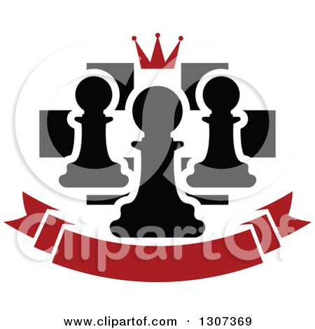 Clipart of a Chess Board with a Crown and Pawns over a Blank Red Banner - Royalty Free Vector Illustration by Vector Tradition SM