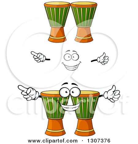 Clipart of a Cartoon Face, Hands and Djembe Goblet Drums - Royalty Free Vector Illustration by Vector Tradition SM