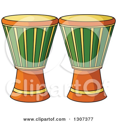 Clipart of Cartoon Djembe Goblet Drums - Royalty Free Vector Illustration by Vector Tradition SM