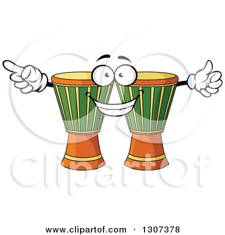 Clipart of a Cartoon Djembe Goblet Drums Character - Royalty Free Vector Illustration by Vector Tradition SM