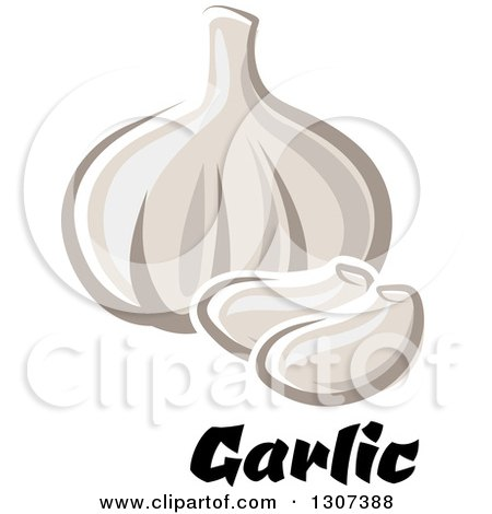Clipart of a Cartoon Blub and Cloves of Garlic over Text - Royalty Free Vector Illustration by Vector Tradition SM