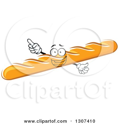 Clipart of a Cartoon Happy Baguette Bread Character with an Idea - Royalty Free Vector Illustration by Vector Tradition SM