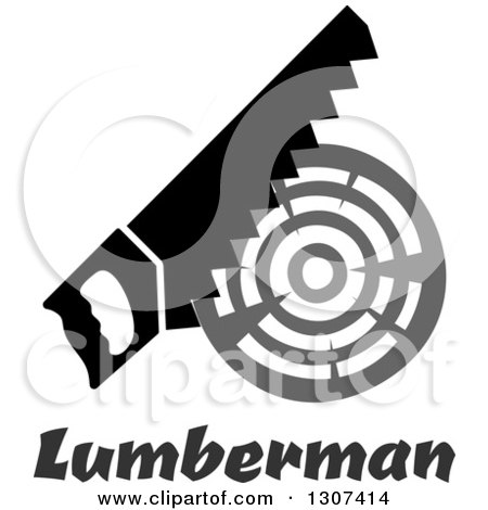 Clipart of a Saw Cutting a Log over Lumberman Text - Royalty Free Vector Illustration by Vector Tradition SM