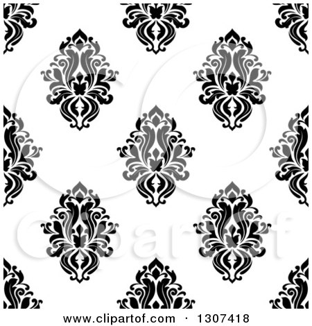 Clipart of a Seamless Pattern Background of Vintage Damask in Black on White 2 - Royalty Free Vector Illustration by Vector Tradition SM