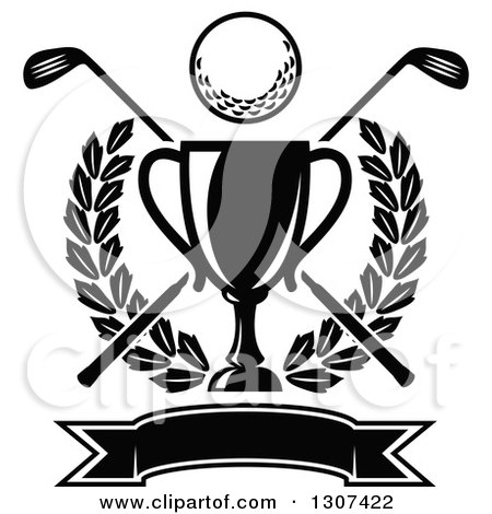 Clipart Of A Black And White Championship Trophy With Golf Ball Crossed Clubs Leafy Wreath Blank Banner
