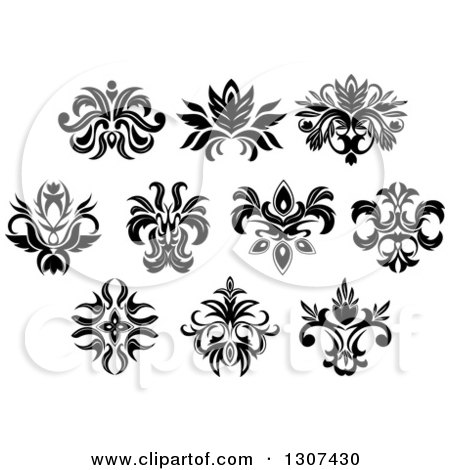 Clipart of a Black and White Vintage Floral Design Elements 11 - Royalty Free Vector Illustration by Vector Tradition SM